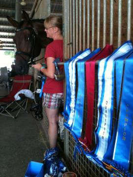 Me and Tate at a dressage show with his ribbons
