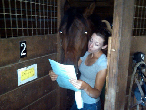 Tate and Tiffany reviewing their Dressage Test