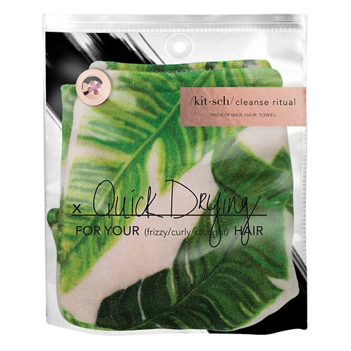 Kitsch Palm Leaves Microfiber Hair Towel