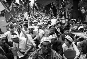 衆議院前の長野県デモ隊