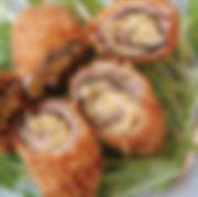 マスタード風味のもちきび豚のロール巻き