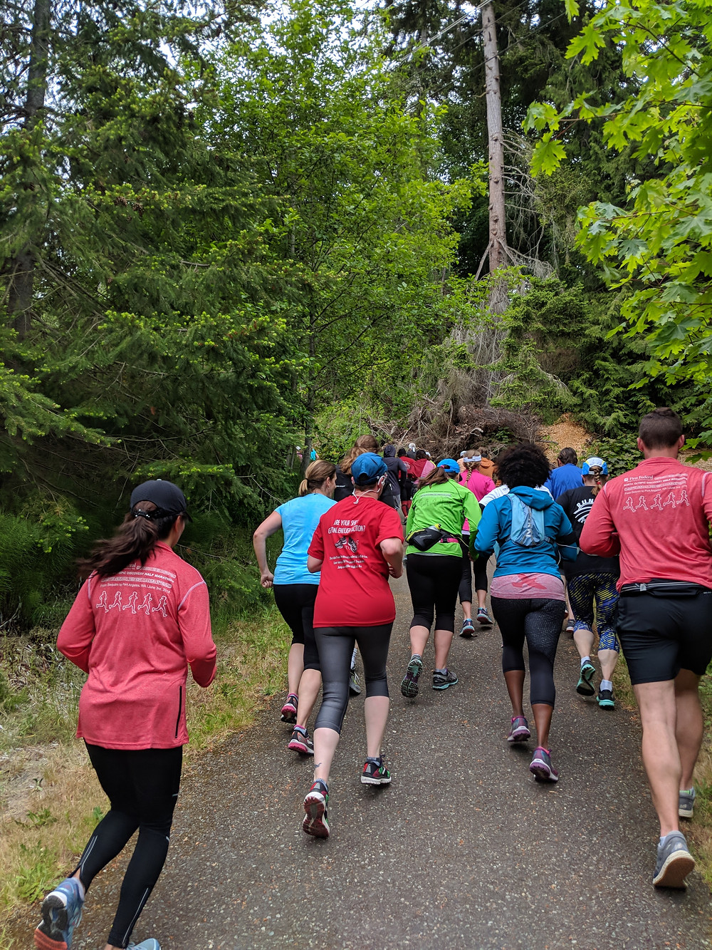 A steep hill climbs on the North Olympic Discovery Half Marathon course