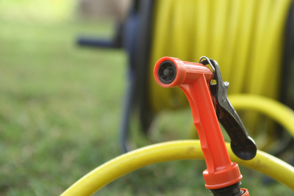 garden hose with red handle