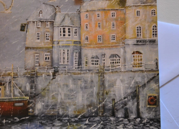 Padstow in winter, greeting card