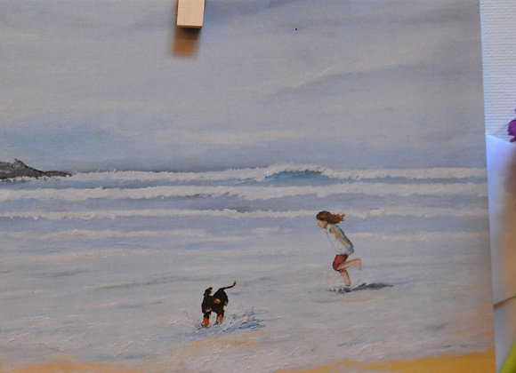 A girl and puppy in Cornwall, greeting card