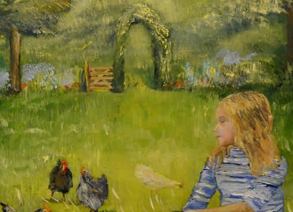 Girl in a green garden, greeting card