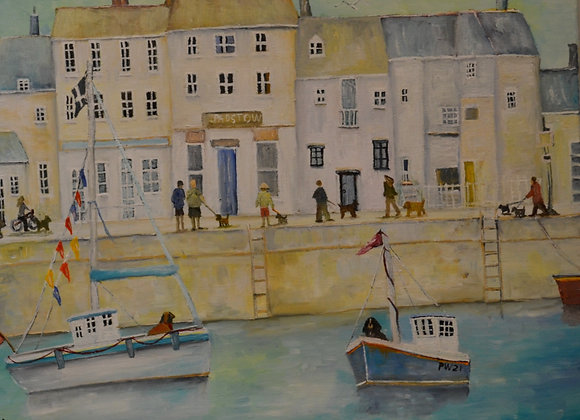 Dogs in Padstow Harbour Cornwall 40x50cm