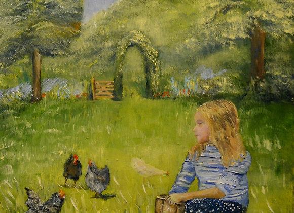 Feeding Chickens in a Very Green Garden