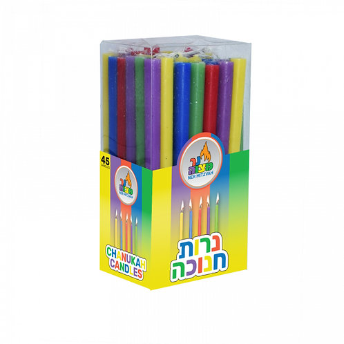 Long Chanukah Candles - Multi-Colour