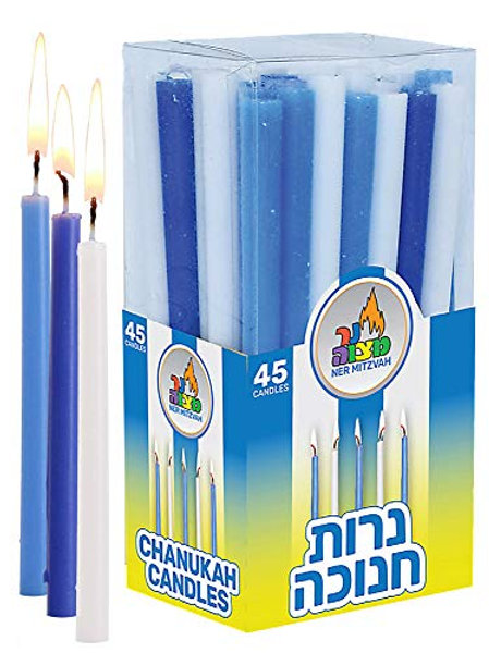 Long Chanukah Candles -- Blue & White
