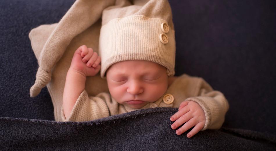 Newborn Boy sleepy time hat