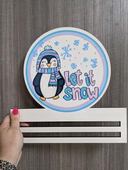 Let it Snow Penguin Wreath Rail