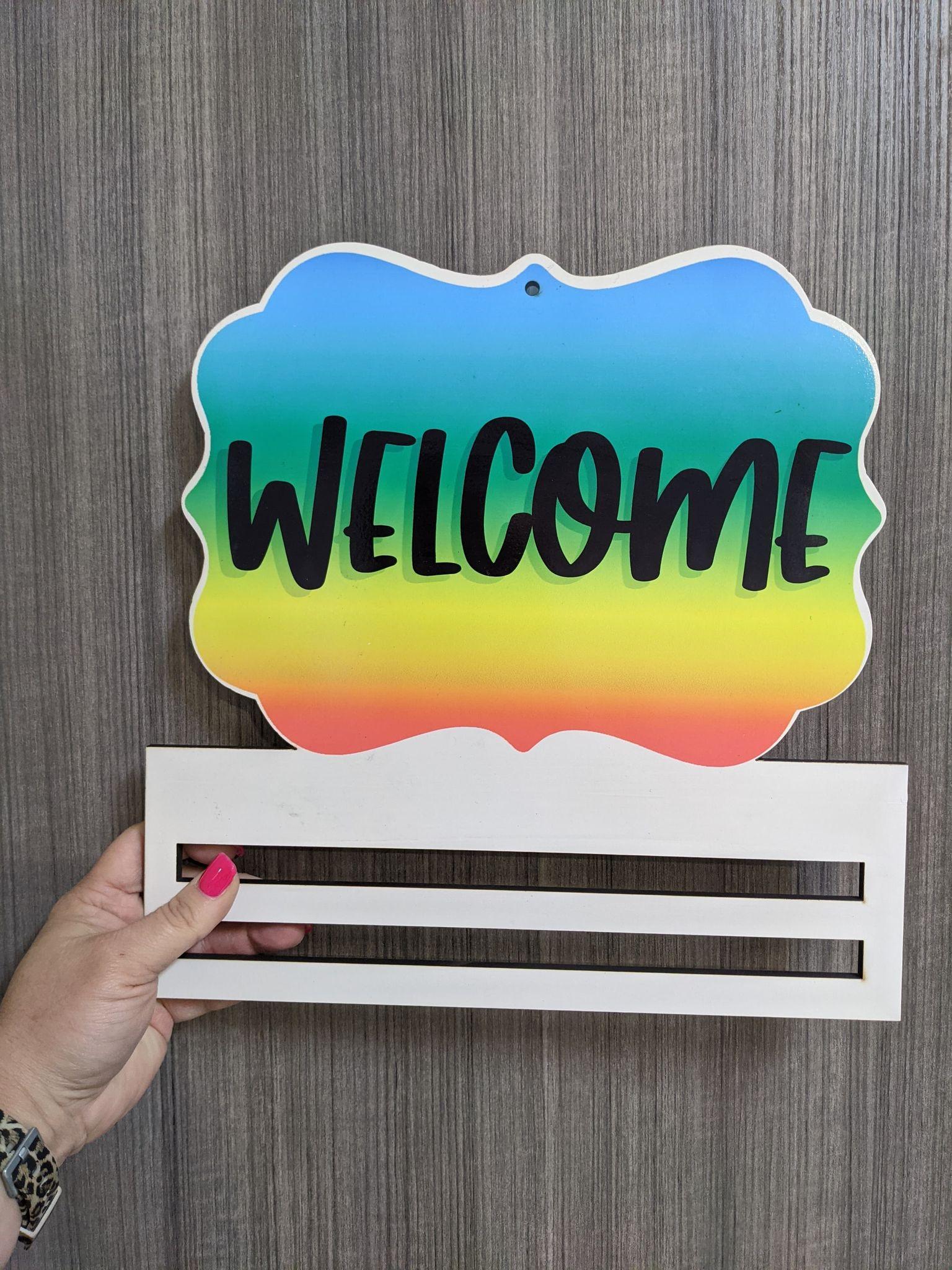 Pride Welcome wreath rail