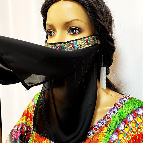 送料無料!フェイスベール face veil アラブ風マスク(シフォン 2枚重ね 洗い替え付 サテン黒)洗える!飲食しやすい・接客業にお勧め fv04