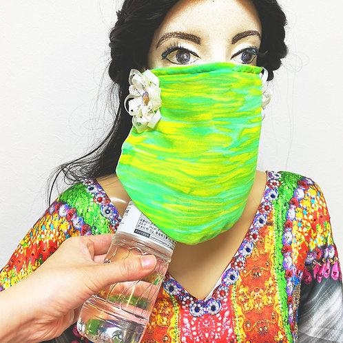 フェイスベール face veil アラブ風マスク(冷感タイプ シフォングリーン)洗える!飲食しやすい・接客業にお勧め fv24