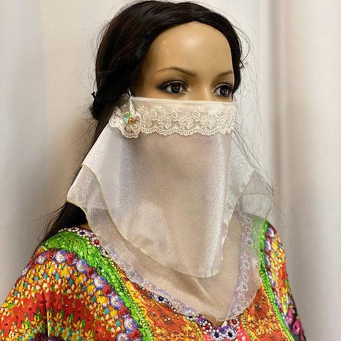 送料無料!フェイスベール face veil アラブ風マスク(オーガンジー白)洗える!飲食しやすい・接客業にお勧め fv01