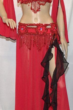 送料無料!【ベリーダンス衣装 フルセット】 レッドブラック bellydance costume/red-black