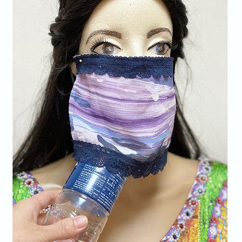 送料無料!フェイスベール face veil アラブ風マスク(冷感タイプ シフォン・パープル)洗える!飲食しやすい・接客業にお勧め fv42