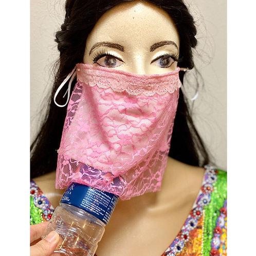送料無料!フェイスベール face veil アラブ風マスク(冷感タイプ レースピンク)洗える!飲食しやすい・接客業にお勧め fv39