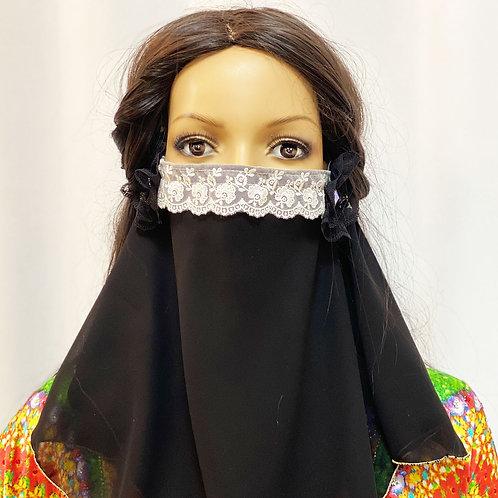 送料無料!フェイスベール face veil アラブ風マスク(シフォン 黒)洗える!飲食しやすい・接客業にお勧め fv02