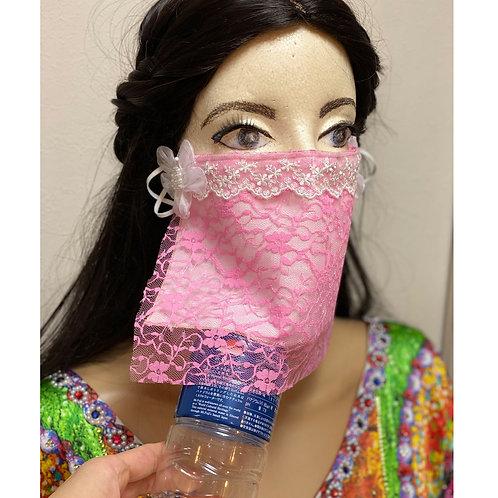 送料無料!フェイスベール face veil アラブ風マスク(冷感タイプ レースピンク・花)洗える!飲食しやすい・接客業にお勧め fv41