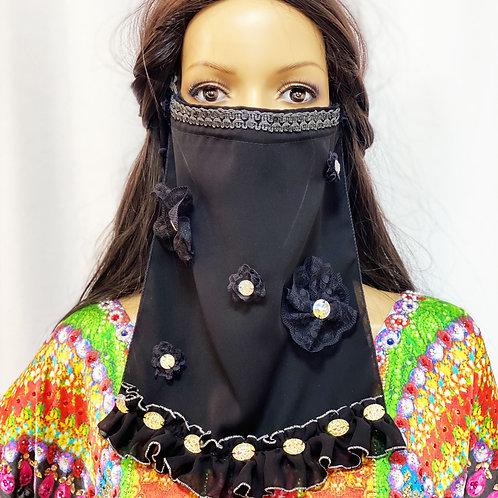 送料無料!フェイスベール face veil アラブ風マスク(シフォン 2枚重ね 洗い替え付 黒)洗える!飲食しやすい・接客業にお勧め fv03