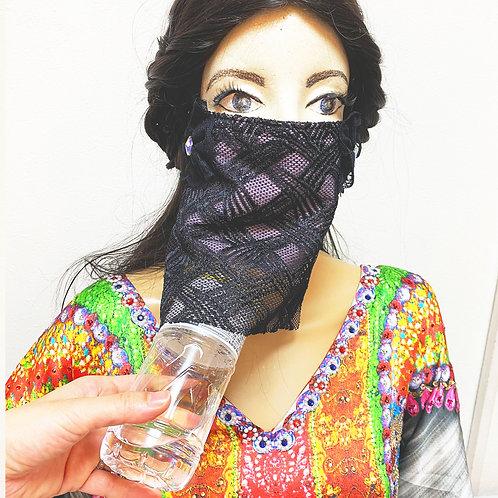 送料無料!フェイスベール face veil アラブ風マスク(冷感タイプ レース黒)洗える!飲食しやすい・接客業にお勧め fv25