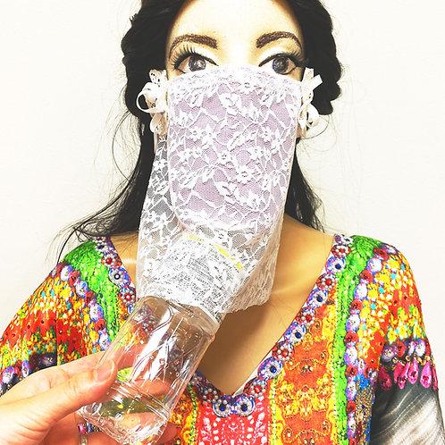 フェイスベール face veil アラブ風マスク(冷感タイプ レース白)洗える!飲食しやすい・接客業にお勧め fv26