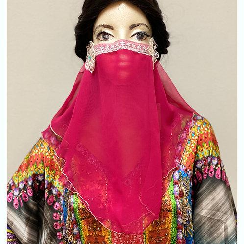 送料無料!フェイスベール face veil アラブ風マスク(2枚重ね シフォン マゼンタピンク)洗える!飲食しやすい・接客業にお勧め fv22