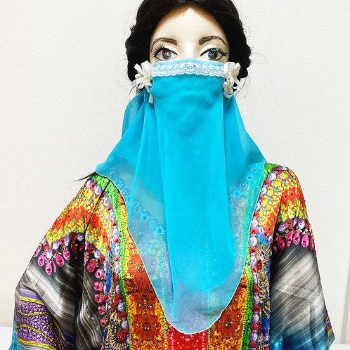 フェイスベール face veil アラブ風マスク(2枚重ね シフォン トルコブルー)洗える!飲食しやすい・接客業にお勧め fv21