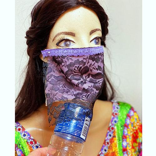 送料無料!フェイスベール face veil アラブ風マスク(冷感タイプ レース黒)洗える!飲食しやすい・接客業にお勧め fv40