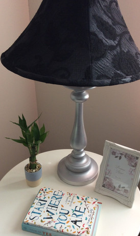 $40ea Update your room with this pair of elegant  table lamps. You can easily coordinate these lamps with your current room decor.  These lamps feature metallic silver base with black paisley shades.