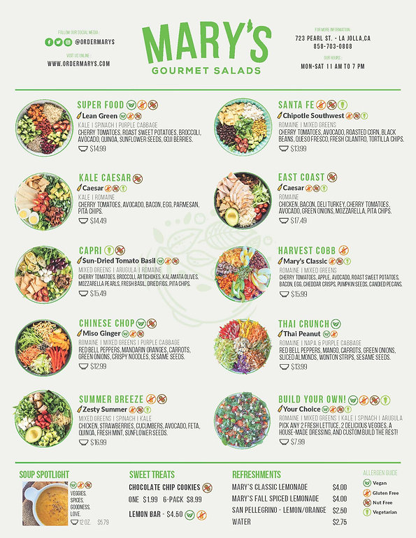 Menu - Mary's Gourmet Salads - La Jolla,