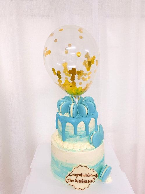 雙層馬卡龍氣球蛋糕
