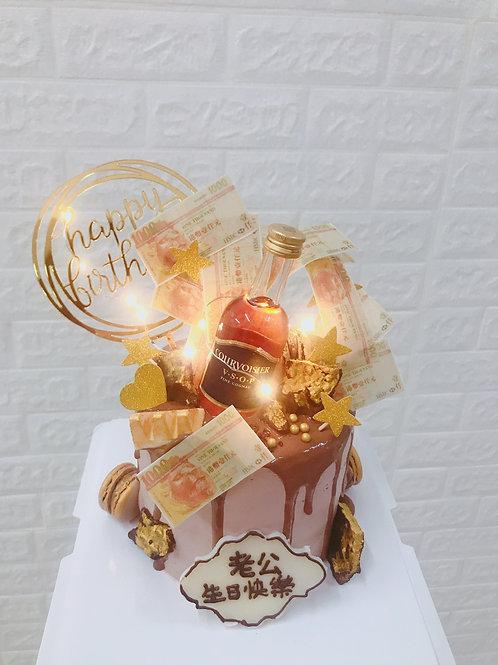 朱古力味 錢+酒造型蛋糕