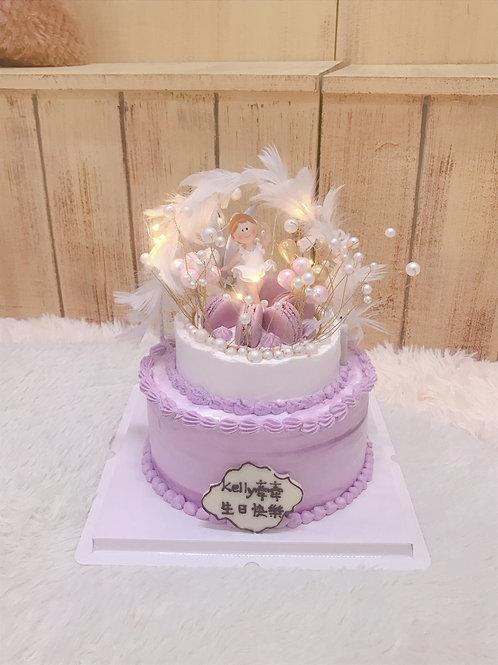 芭蕾舞小舞台雙層蛋糕(有燈)