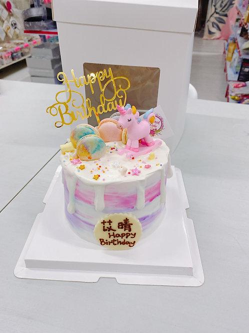 粉紅紫色漸變獨角獸蛋糕