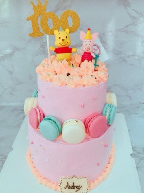 雙層馬卡龍 卡通 蛋糕
