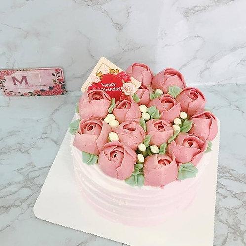 Buttercream包心玫瑰蛋糕(花可轉色)