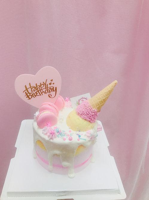 漸變粉 雪糕筒蛋糕