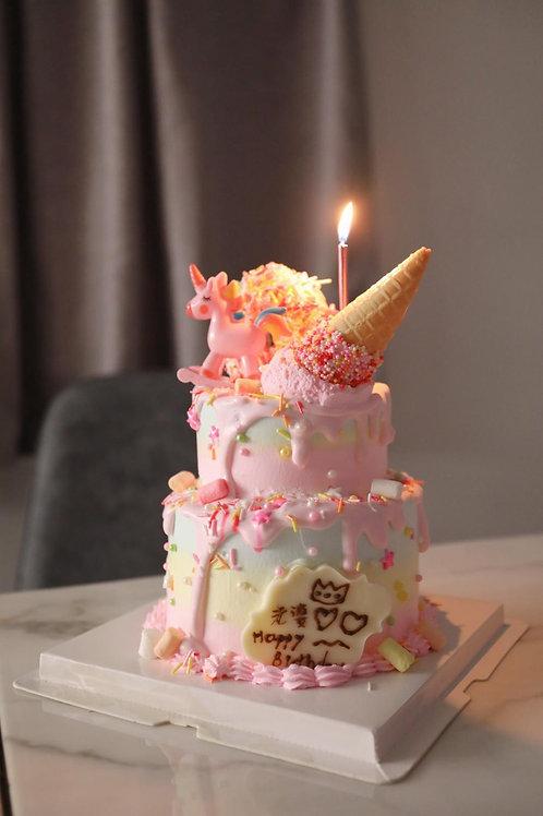 小雙層 冬甩木馬款三色蛋糕