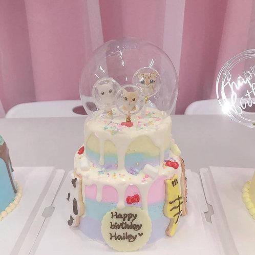 超靚貓咪主題蛋糕 糖霜曲奇加水晶球