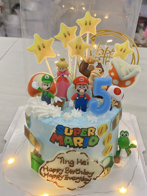 Mario著燈蛋糕