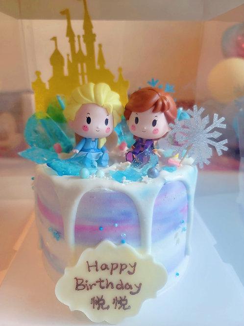 Elsa Anna冰山城堡蛋糕