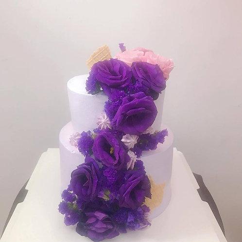 雙層鮮花蛋糕紫色高貴款 結婚蛋糕