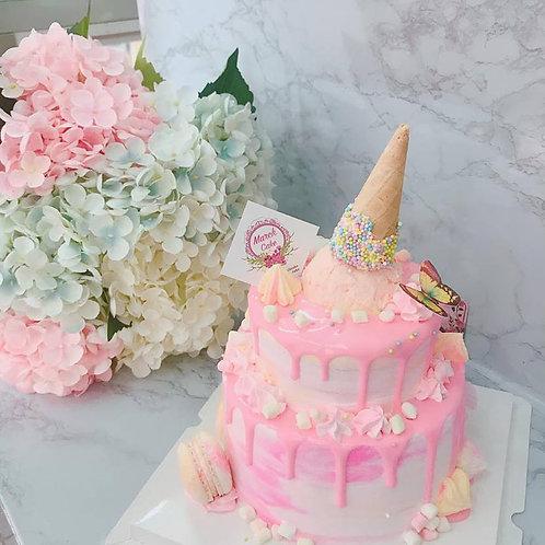 漸變粉 雪糕筒雙層蛋糕