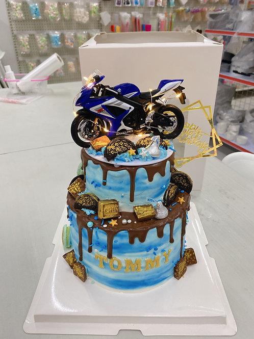 電單車款雙層蛋糕