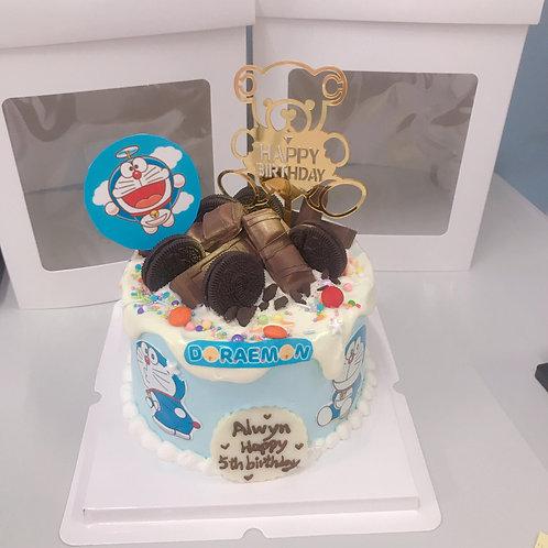 多啦A夢主題 食用印刷糖皮蛋糕