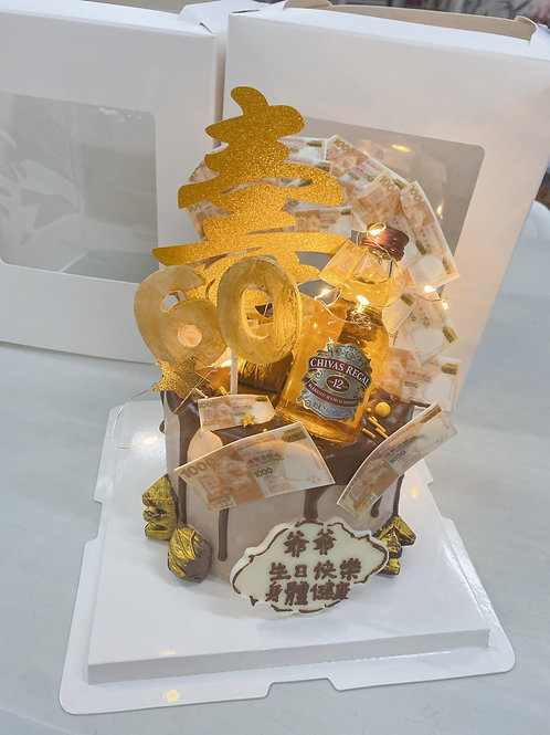 60大壽酒錢蛋糕