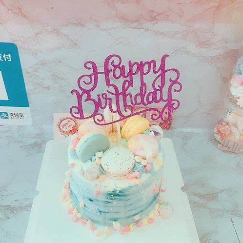 藍色漸變馬卡龍蛋糕